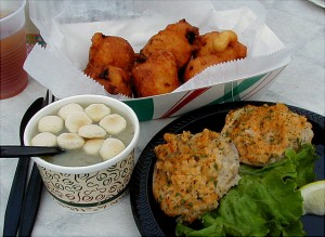 "The traditional clam shack triology – chowder, clam cakes and ""stuffies."" / Photo courtesy of Rhode Island Tourism"