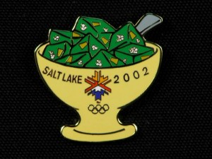 Utahans have embraced their status as the nation's top consumers of green Jell-O; in fact, organizers of the 2002 Winter Olympics, held in Salt Lake City, created a souvenir pin to commemorate the jiggly dessert. / Photo courtesy of State of Utah